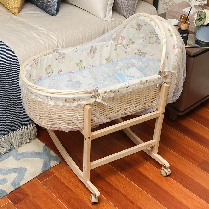 包邮藤编摇篮床便携手提篮摩西婴儿篮车载环保宝宝实木摇篮窝蚊帐