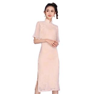 年輕款少女改良旗袍 復古國風米色雙襟盤扣開衩拼接五分袖連衣裙