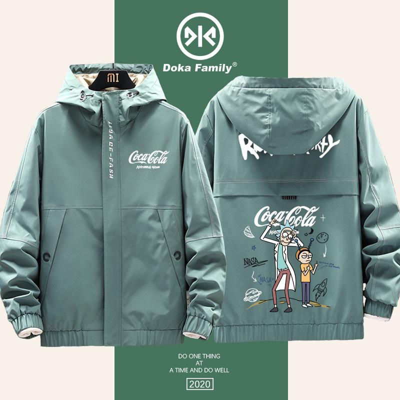 可口可乐联名nasa瑞克和莫蒂工装夹克开衫cocacola外套男春秋季款