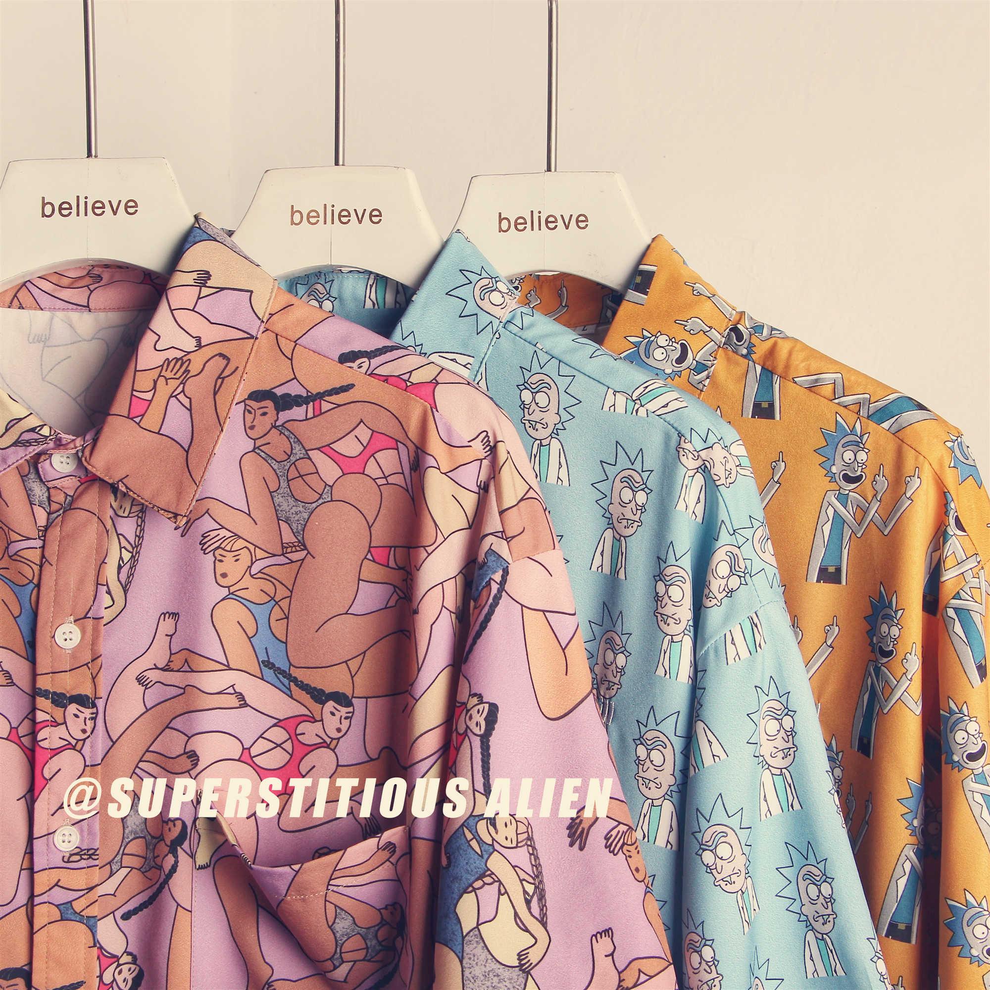 花衬衫女复古港味宽松短袖夏威夷情侣装设计感小众上衣印花潮牌