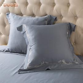 60支长绒棉靠垫枕套 纯棉刺绣大抱枕60*60CM一对装床品六件套配件图片