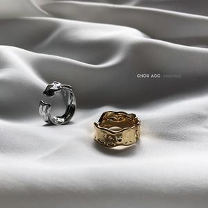 小众设计师欧美INS风不规则褶皱锡纸开口金银色个性夸张熔岩戒指