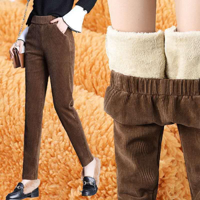 秋冬季新款羊羔绒加厚休闲裤女灯芯