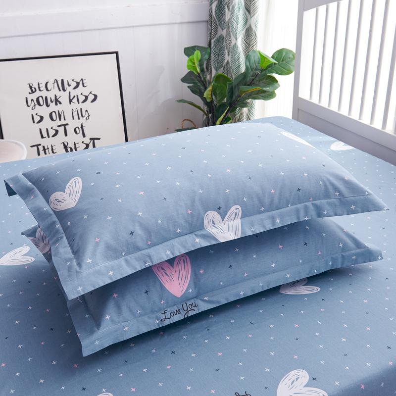 纯棉枕套一对装48×74宽边情侣可爱全棉学生宿舍单人枕头套信封式