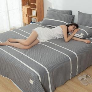 格子床单水洗棉被单单件夏天单枕套