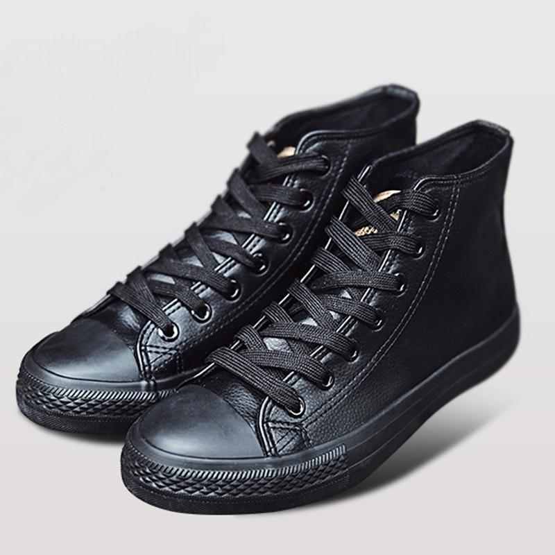 加绒保暖潮男鞋马丁靴时尚高帮男士防水纯黑色短靴软皮鞋男棉鞋子