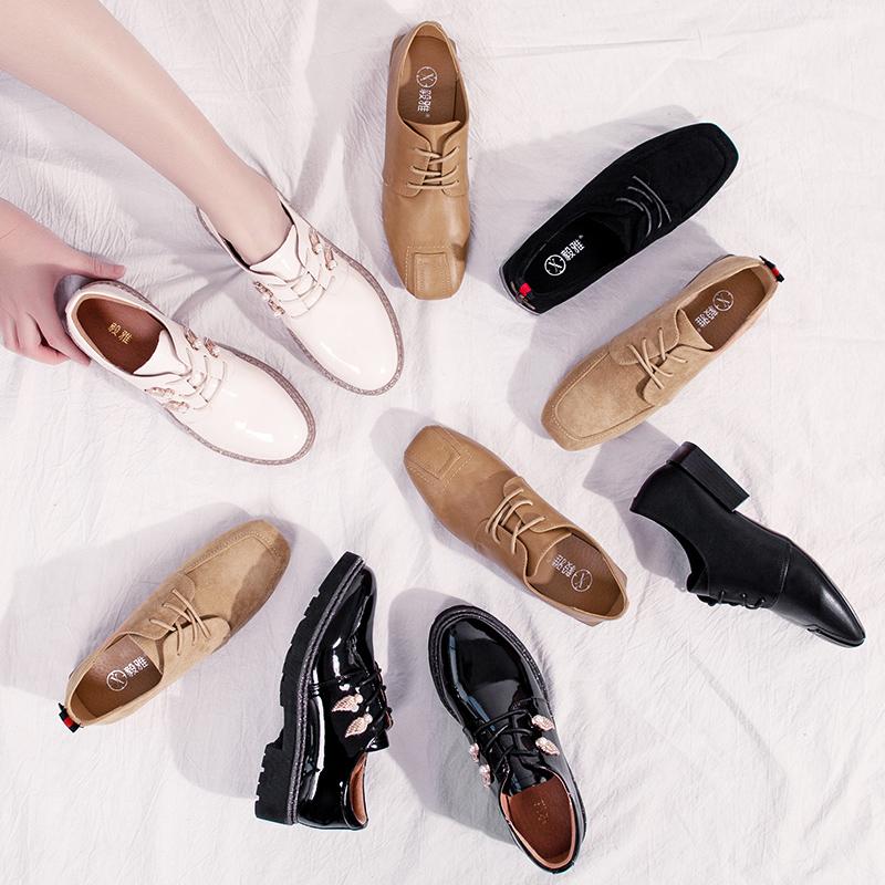 平底单鞋女2019夏款新款系带女鞋复古透气小皮鞋女韩版百搭夏天季