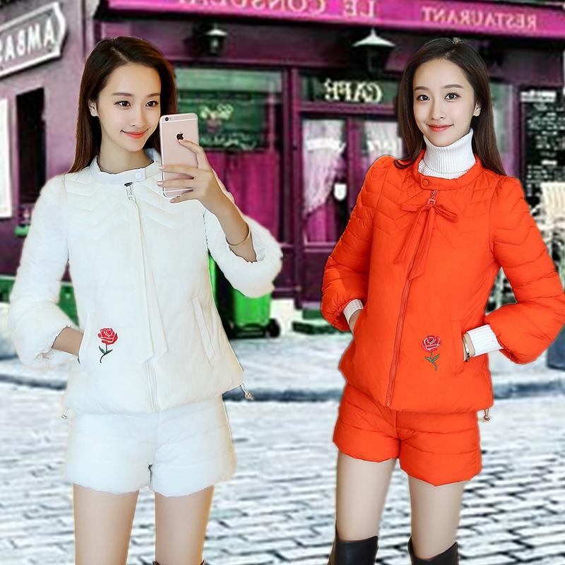 2019时尚新款羽绒棉服女绣花显瘦两件套秋冬季短款气质棉衣套装潮