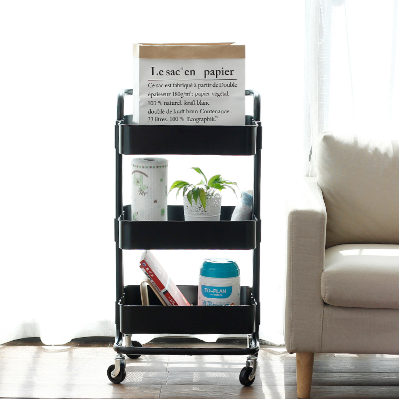 三层可移动置物架小手推车带轮厨房储物架ins北欧风拉斯克收纳架