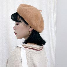 秋冬純色毛呢羊毛貝雷帽