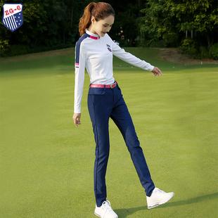 女衣服女装 春夏新款 ZG6高尔夫球服装 T恤上衣宝兰修身 长裤 秋冬长袖