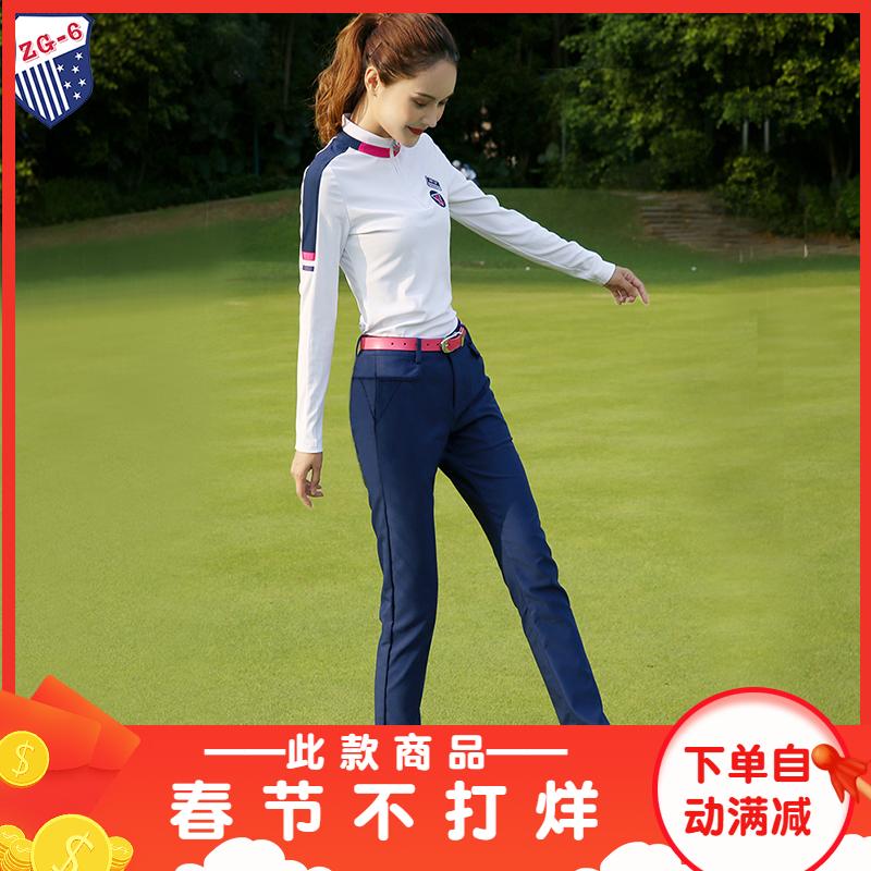 秋季新款ZG6高尔夫球服装女衣服女装秋冬长袖T恤上衣宝兰修身长裤