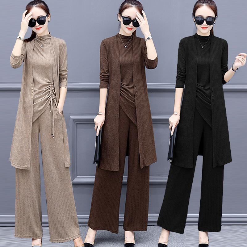 大码女装春装新款韩版洋气套装胖mm裤子时尚减龄针织衫三件套女