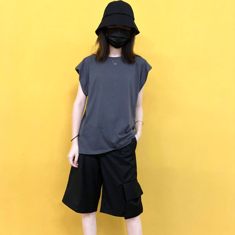 New Korean version of wheat brand: hollow out solid color T-shirt for womens summer shoulder pad and sleeveless sexy open back