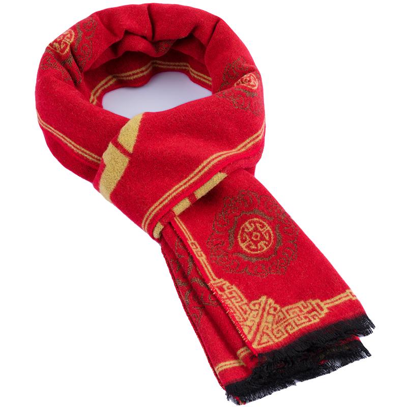 福字红色中老年人围巾女士秋冬季百搭民族风婆婆老人奶奶妈妈围脖