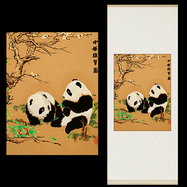 中国特色礼品送老外高档民族特色四川纪念品纯手工刺绣熊猫丝绸画