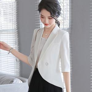 白色西装外套女中袖短款韩版休闲小香风气质西服春款2021