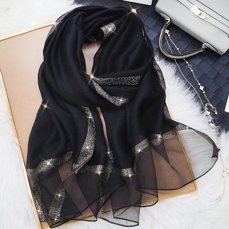 杭州围巾女薄款披肩丝巾长款春秋个性时尚洋气百搭纱巾真丝桑蚕丝