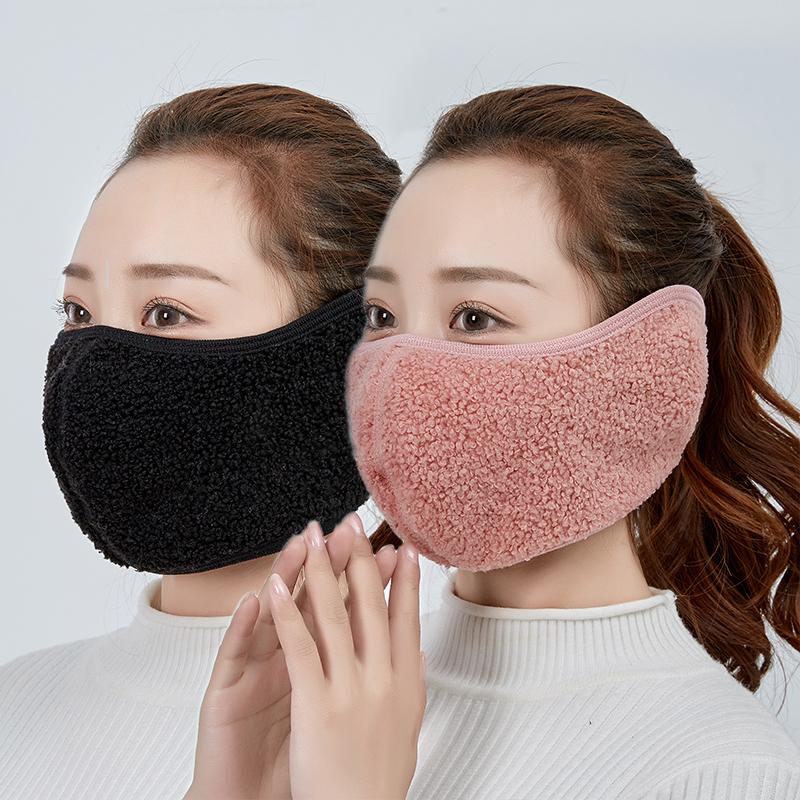 冬季保暖口罩耳套一体男女加厚防风护耳骑行护脸防寒加绒全脸面罩