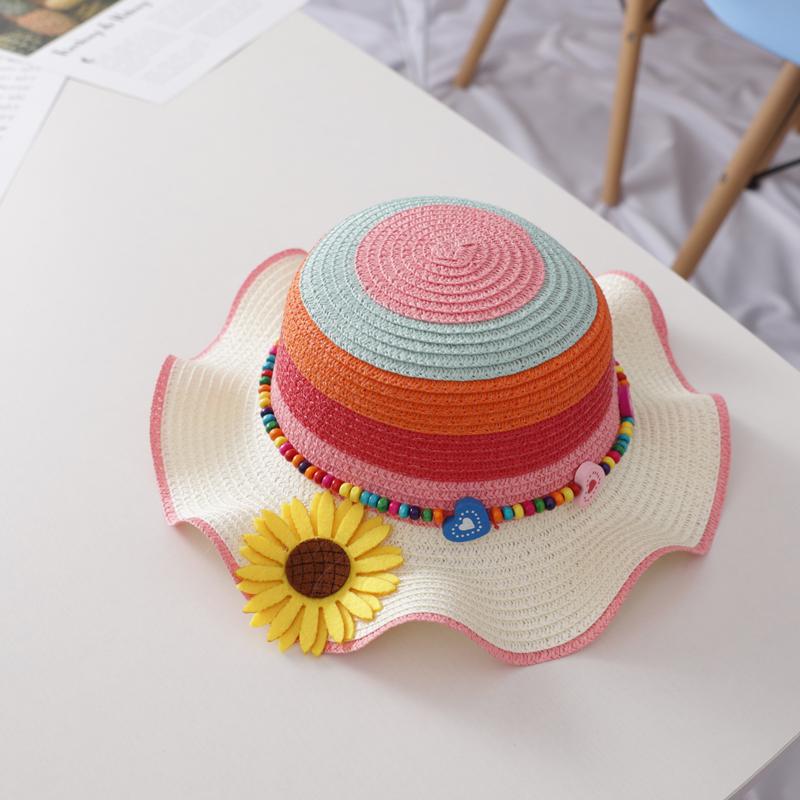 宝宝帽子女夏防晒公主沙滩帽遮阳帽女童草帽太阳帽盆帽儿童渔夫帽