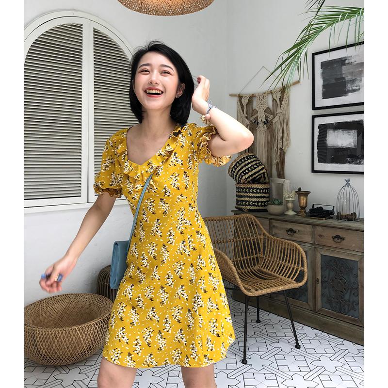 Ziziii fairy juice summer Zui love printing short sleeve print dress with ruffle collar