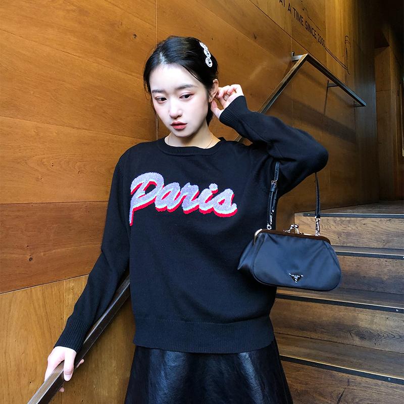 ZHIZHIII 小仙女汁秋冬新款毛衣针织paris字母毛衣针织衫打底衫