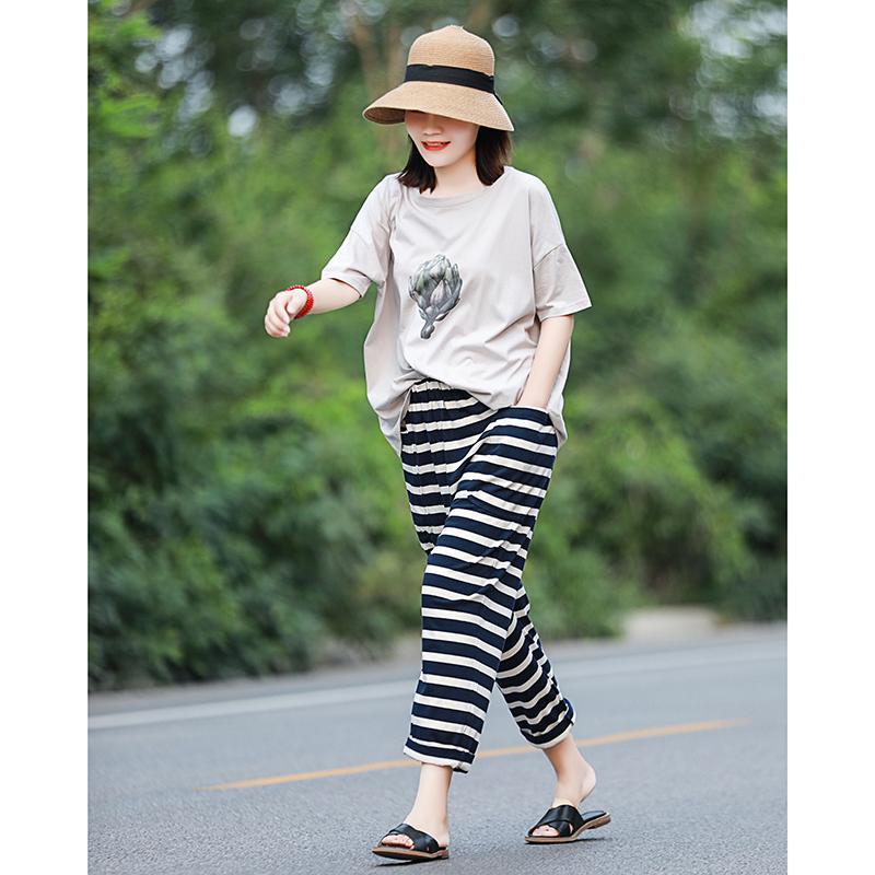 舒适百搭 文艺大码秋季女裤 一条很好穿的宽松休闲裤子有弹力