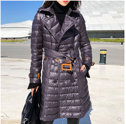 European station winter super light double breasted down jacket womens mid length slim waist suit