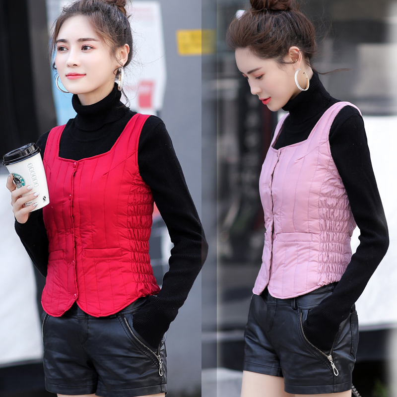 Autumn and winter trendy womens light and thin down suspender vest students short fit waistcoat with base and slim fit