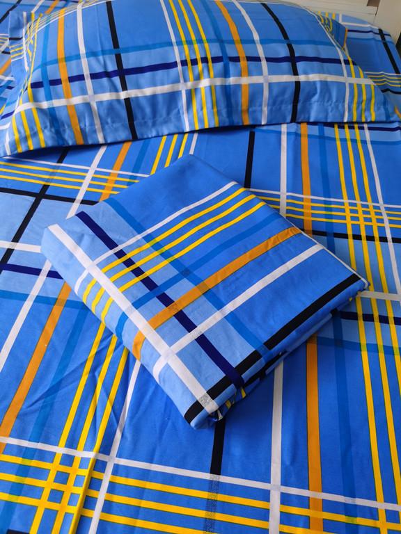 可定做学校蓝色格子纯棉斜纹床单 被套蓝格学生宿舍三四件套