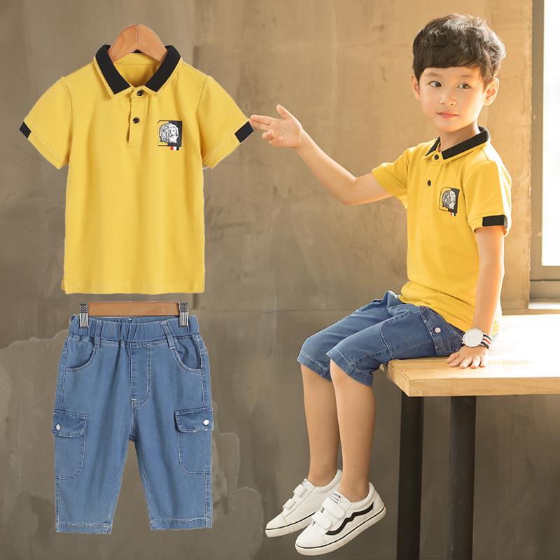 童装男童夏装套装2018新款儿童韩版男孩夏季短袖牛仔两件套休闲潮