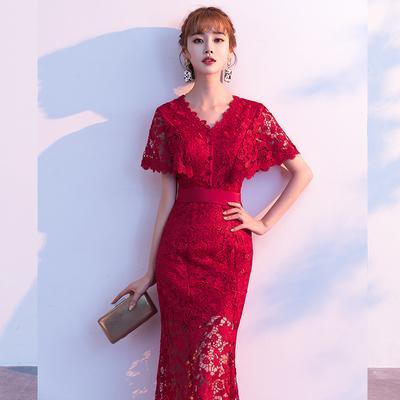 敬酒服新娘酒红色2020新款大气结婚衣服回门宴订婚礼服女平时可穿