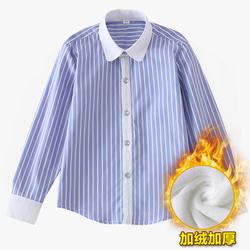 男童加绒衬衫2021新款男秋冬款长袖纯棉加厚儿童衬衫中大童白衬衫
