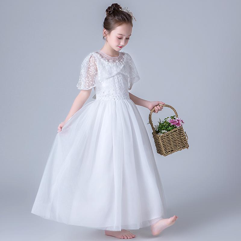 Váy bé gái công chúa 2019 trẻ em mới phong cách nước ngoài biểu diễn piano váy hoa Cô gái phồng sợi trang phục hiện tại - Váy trẻ em