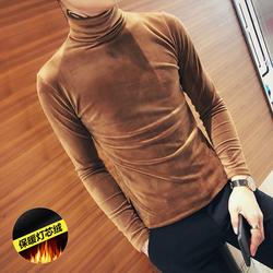 D301-B05秋冬社会小伙金丝绒加厚高领长袖T恤男韩版修身打底衫P45