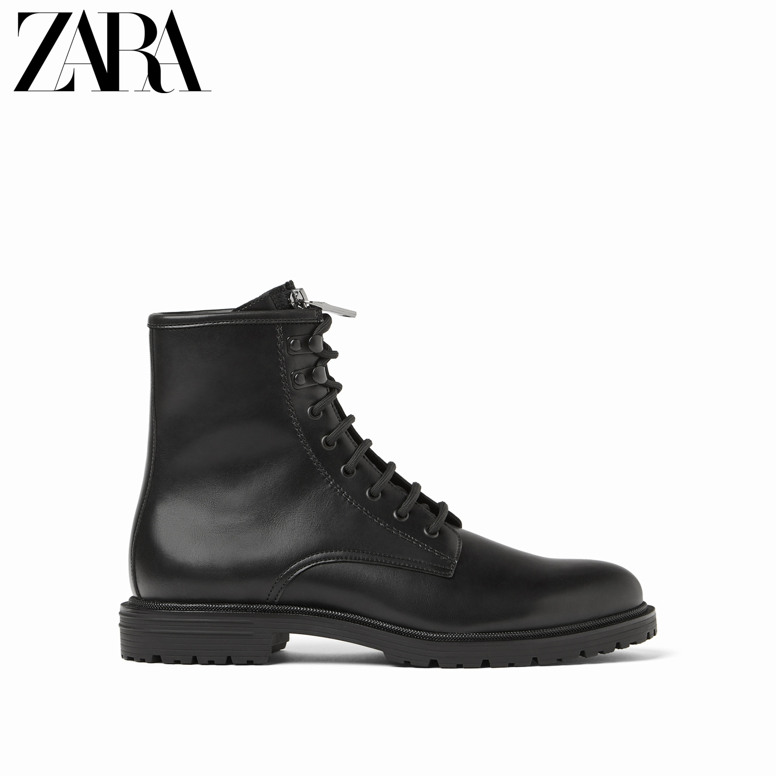 ZARA new men's shoes black lace autumn and winter retro British tooling Martin boots short boots 15015002040