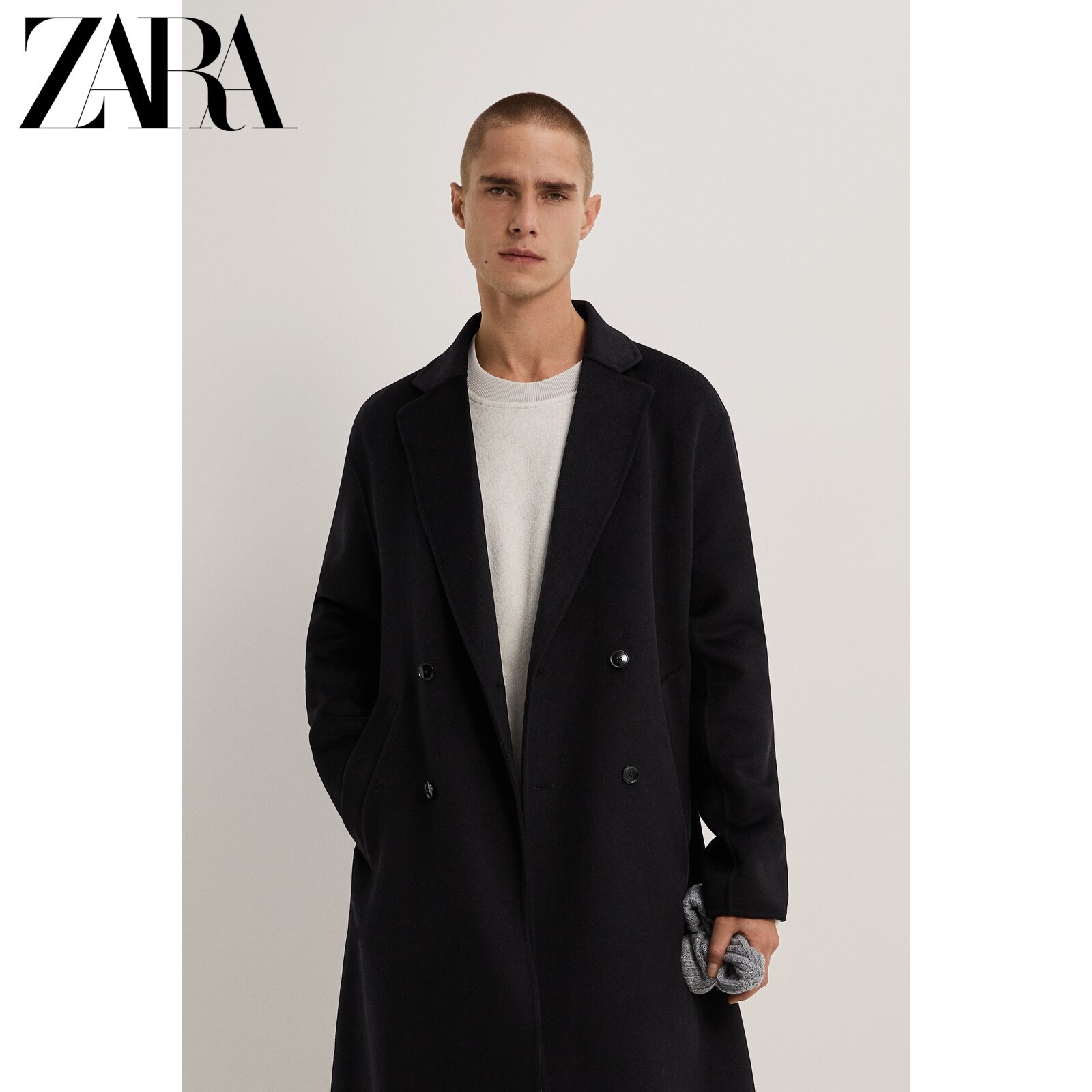 Zara new men's autumn and winter wool texture double-breasted coat coat 09621600800