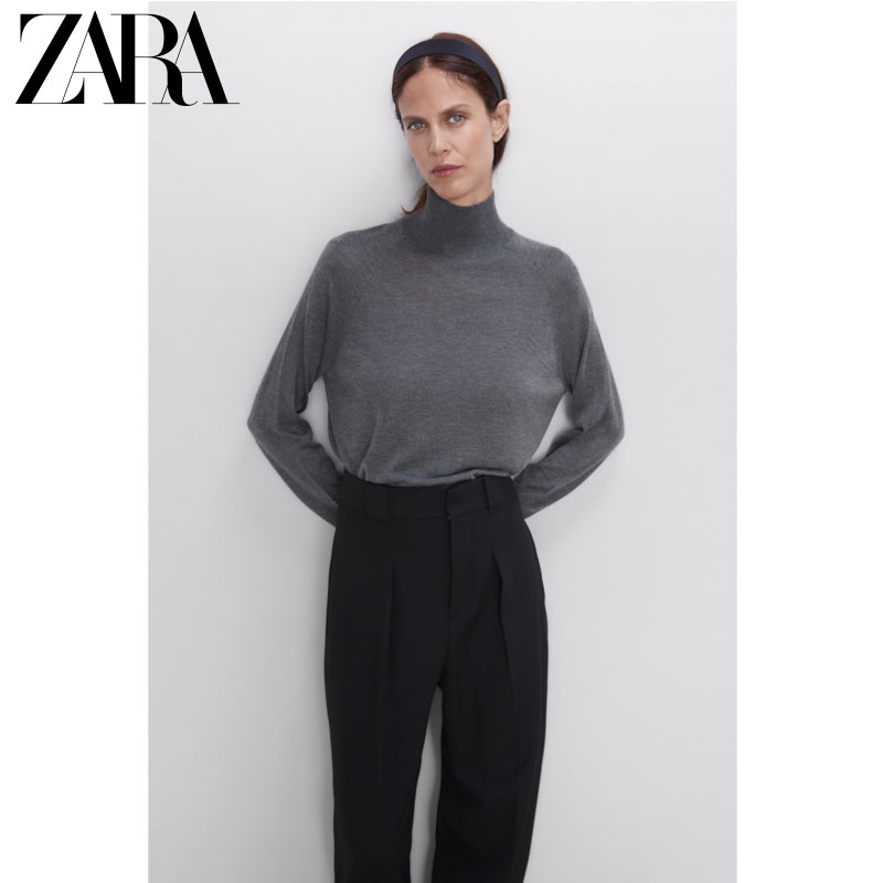 Zara new women's basic half high collar Pullover T-shirt 01509100802
