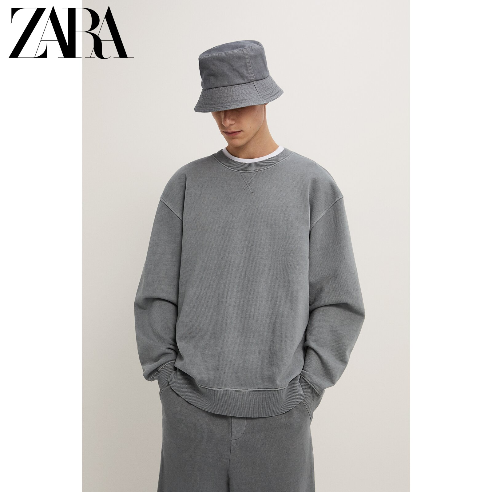Zara new men's clothing wash effect loose sweater 01701306802