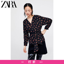 ZARA's new women's wear V-neck retro flower-printed bow-knotted long-sleeved shirt 02183051330