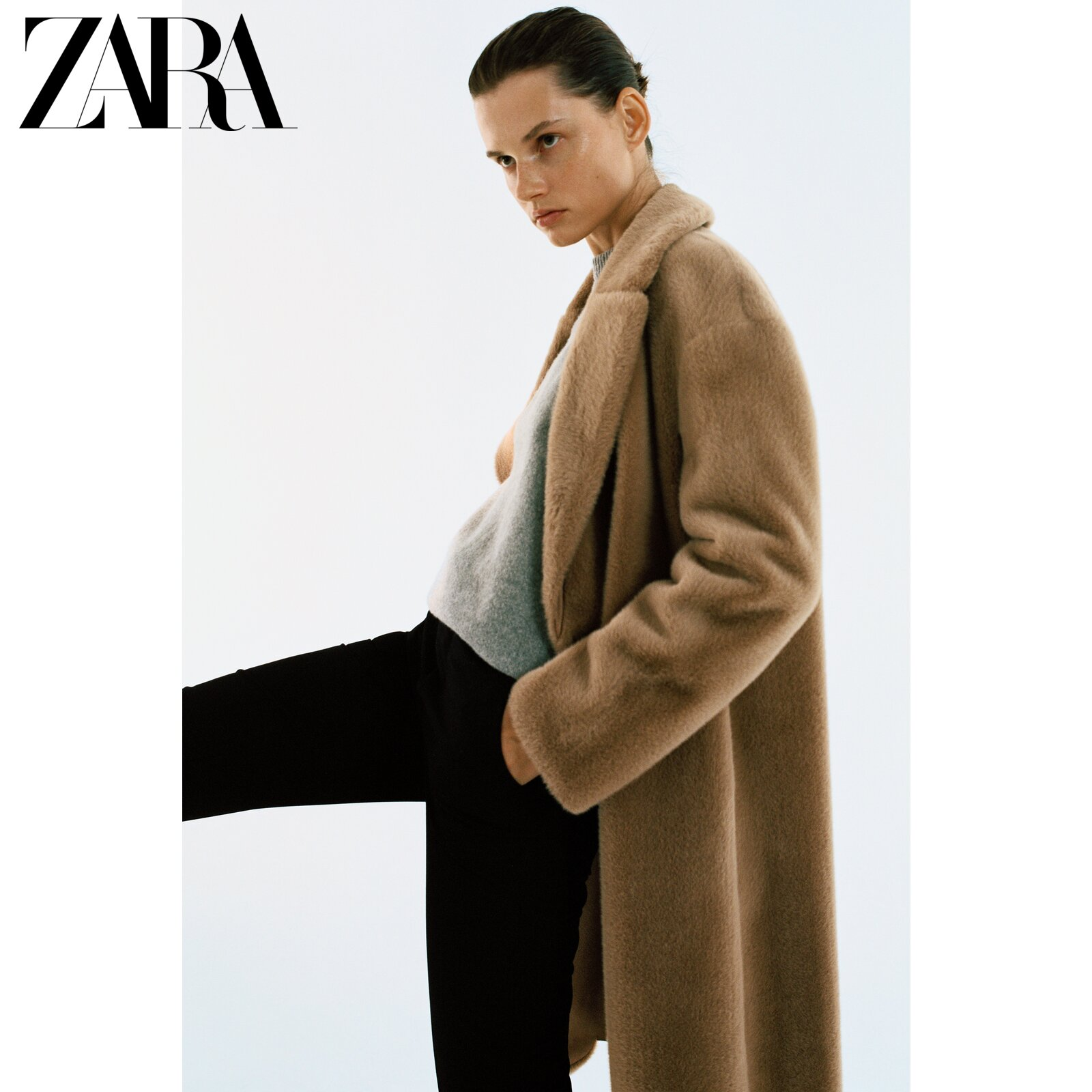 ZARA new ladies' faux fur effect double-breasted coat jacket 08490242704