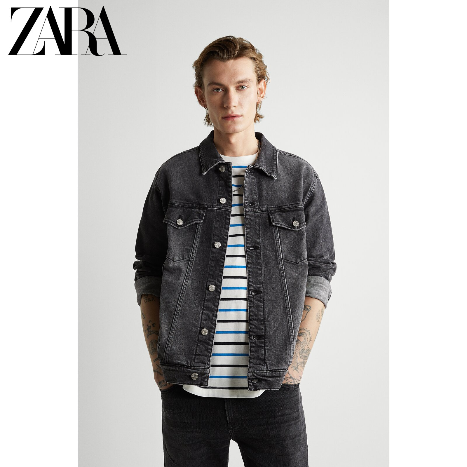 ZARA new men's basic denim jacket jacket 04454450802