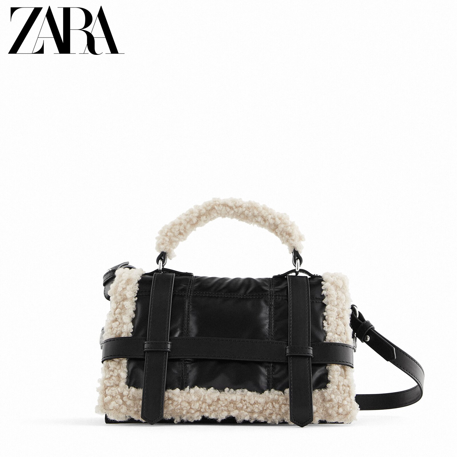 Zara new female bag black fleece quilted urban casual bag 16527610040