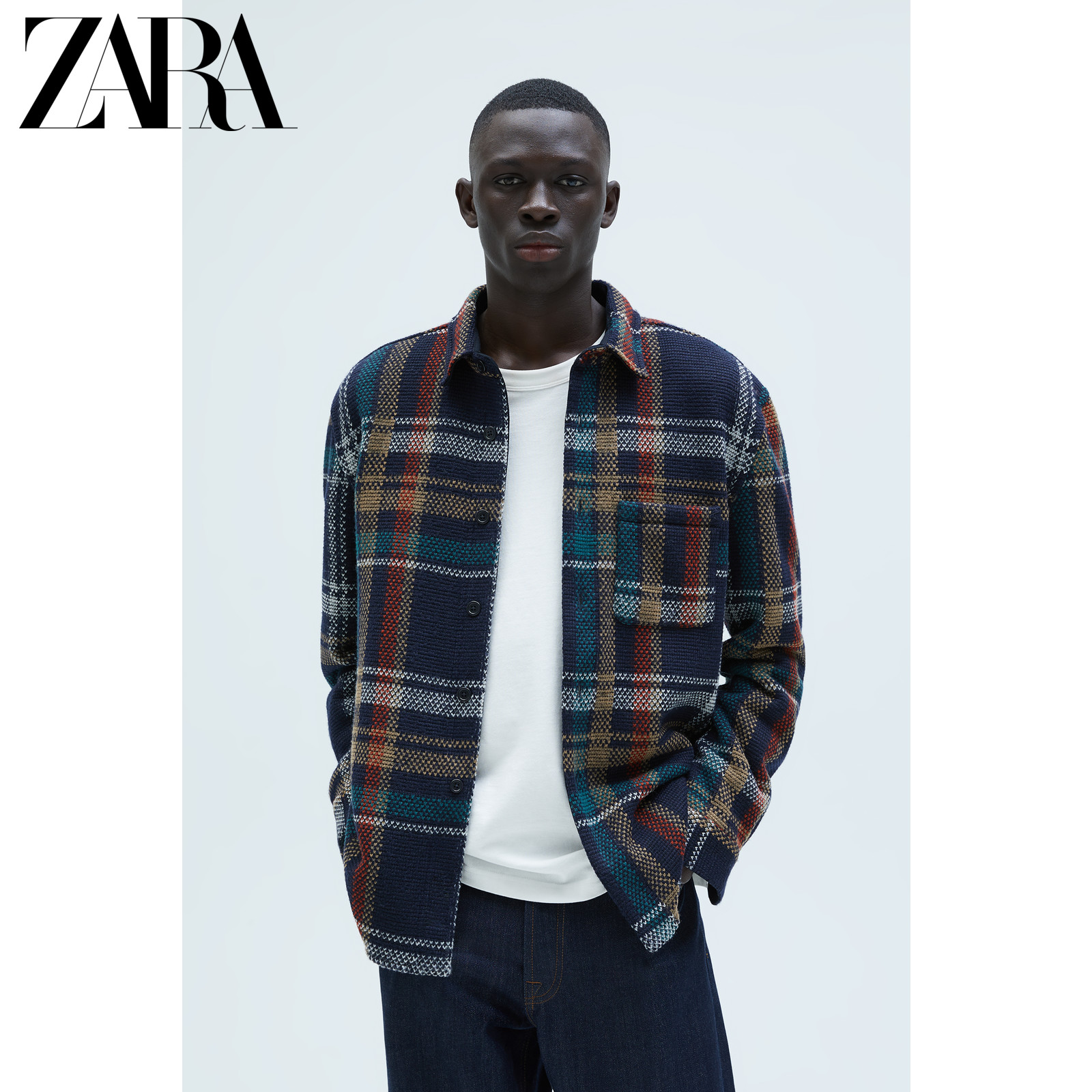 Zara new men's casual plaid texture shirt coat 03057358401