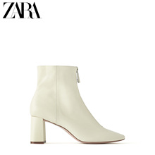 Zara new TRF women's shoes, nude zipper, cow leather and leather high-heeled boots 138025100002
