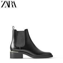 ZARA new women's shoes, black trim, heel, flat bottomed Chelsea boots 16152001040