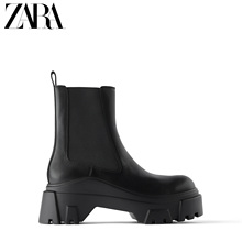 Zara women's shoes black groove sole cow leather leather Chelsea short boots 11108510040