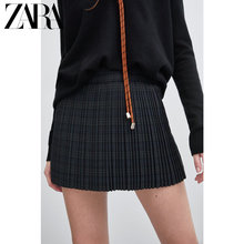 ZARA spring dress new TRF women's small pleated casual shorts skirt half-length skirt 07385190445