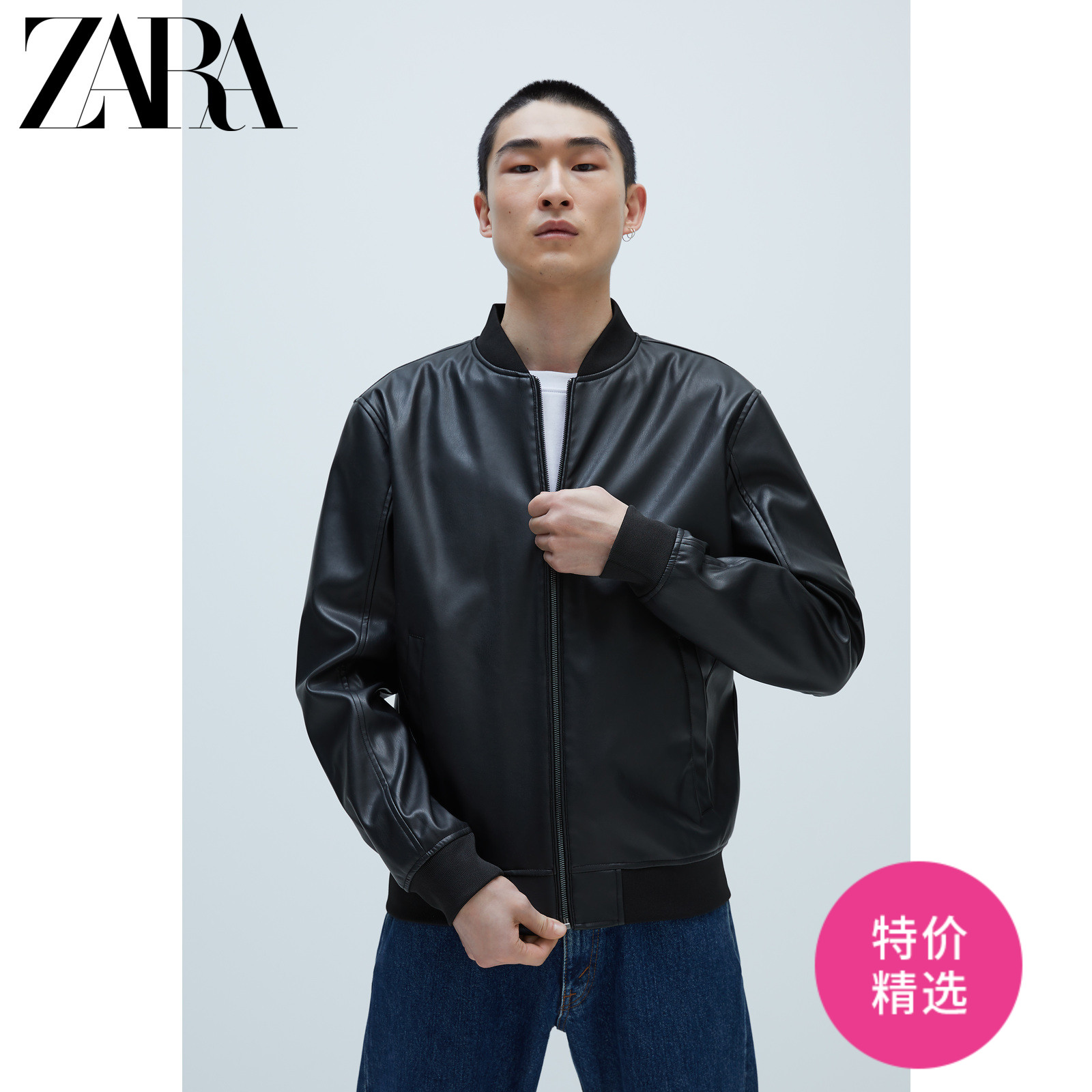 Zara new men's imitation leather pilot jacket 03918400800