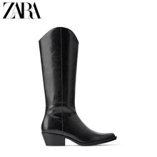 ZARA New TRF Women's Shoes Black Denim High-heeled Boots 17052001040